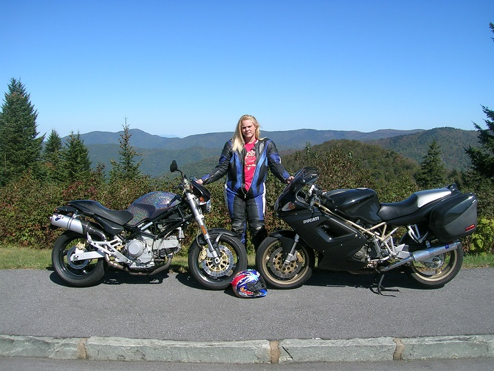 [Vicki with the Disco Duck and the Gimpy Glide at the Blue Ridge 