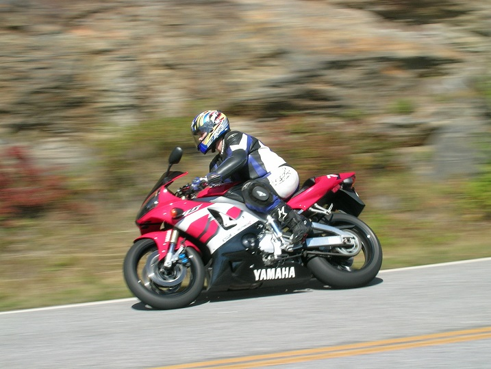 [Vicki and Big Red storming down N.C. Hwy 215 just south of the Blue 