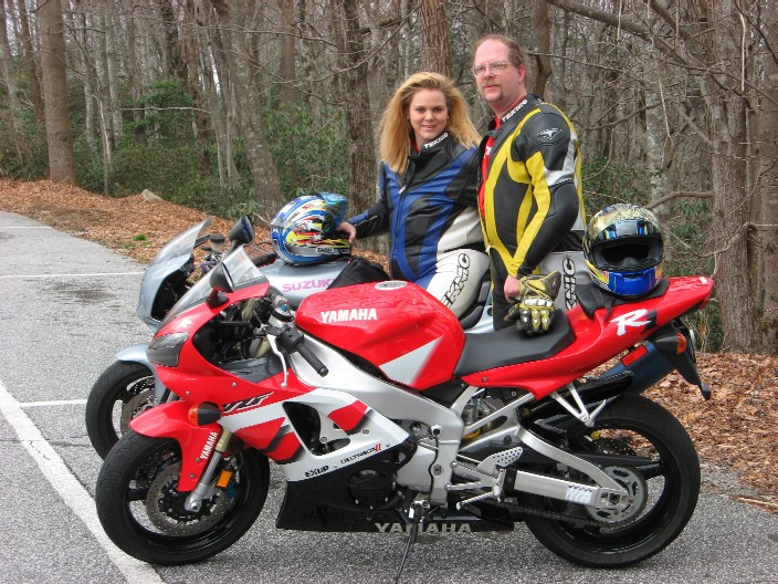 [Vicki with the Silver Streak and Terry with Big Red at Caesars Head State 